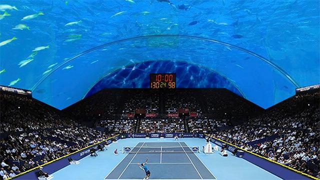 Cancha de tenis bajo el agua en dubai pelando el ojo for El hotel que esta debajo del agua